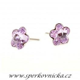 Náušnice FLOWER 10mm se SWAROVSKI ELEMENTS, violet