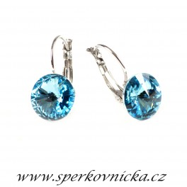 Náušnice RIVOLI 12mm se SWAROVSKI ELEMENTS, aquamarine folied