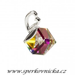 Přívěšek KOSTIČKA (ANGLED CUBE) 8mm se SWAROVKI ELEMENTS, crystal vitrail medium
