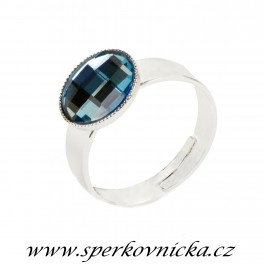 Prsten CHESSBOARD kulatý 10mm se SWAROVSKI ELEMENTS, aquamarine