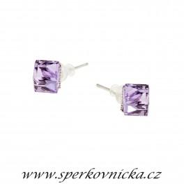 Náušnice KOSTIČKA (ANGLED CUBE) 6mm se SWAROVSKI ELEMENTS, violet
