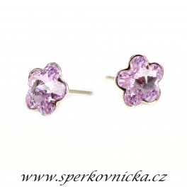 Náušnice FLOWER 10mm se SWAROVSKI ELEMENTS, violet