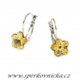 Náušnice FLOWER 10mm se SWAROVSKI ELEMENTS, jonquil