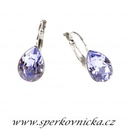 Náušnice PEAR 14mm se SWAROVSKI ELEMENTS, provence levander