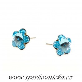 Náušnice FLOWER 10mm se SWAROVSKI ELEMENTS, aquamarine