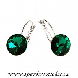 Náušnice RIVOLI 12mm se SWAROVSKI ELEMENTS, emerald