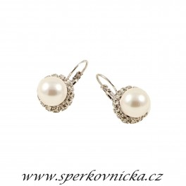 Náušnice CRYSTAL WHITE PEARL 10mm se SWAROVSKI ELEMENTS, bílá